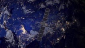 Satellite de télécommunication au-dessus de l'Asie illustration libre de droits