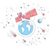 Satellite de télécommunications pilotant le vol spatial orbital autour de la terre, illustration stock