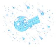 Satellite de télécommunications pilotant le vol spatial orbital autour de la terre, illustration libre de droits