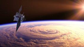 Satellite dello spazio che esplora un uragano sulla terra illustrazione vettoriale