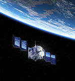 Satellite Deploys Solar Panels In Space Stock Images