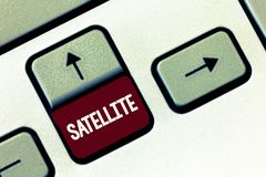 Satellite des textes d'écriture de Word Concept d'affaires pour le corps artificiel placé en orbite autour d'une terre ou d'une p images libres de droits