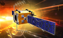 Satellite. Digital illustration of satellite in colour background royalty free stock images