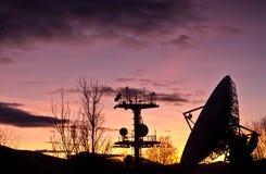 Satellite dish. At sunset.Aflenz,Austria Royalty Free Stock Photography