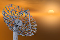 Satellite Dish. / Communication Array on Gold Sky stock illustration