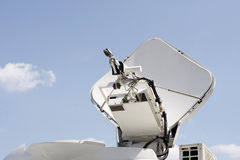 Satellite dish. On news broadcasting equipment royalty free stock images