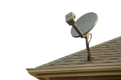Satellite Dish. On roof with white background royalty free stock photography