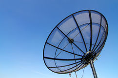 Satellite dish. For communication on top of view in the city Royalty Free Stock Images