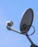 Satellite Dish. Satellite antenna against blue sky royalty free stock photo
