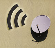 Satellite dish against with wifi sign stock images
