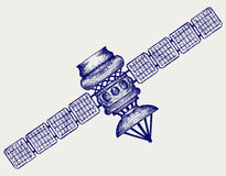 Satellite with dish antenna Stock Images