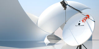 Satellite dish antenna 3d illustration. Abstract composition with a satellite dish antenna royalty free illustration