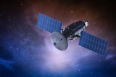 Satellite dish with antenna. 3d rendering satellite dish with antenna in outer space stock illustration