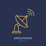 Satellite dish antenna flat line icon. Wireless technology sign. Vector illustration of interner connection Royalty Free Stock Photos