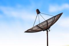Satellite dish antenna radar and blue sky background Stock Photo
