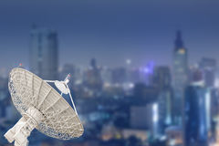 Satellite dish antenna radar and building background Stock Photos