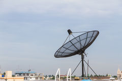 Satellite dish antenna on the roof. Stock Photography