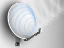 Satellite dish antenna with signal (with wave). Computer generated image (3d render Royalty Free Stock Images