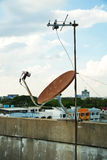 Satellite dish antenna on top tower Stock Image