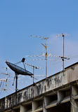 Satellite Dish and Antenna TV. And blue sky Stock Image