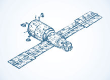 Satellite with dish antenna. Vector doodle sketch Stock Photos