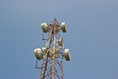 Satellite dish antennas with blue sky Royalty Free Stock Photo