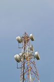 Satellite dish antennas with blue sky Stock Images