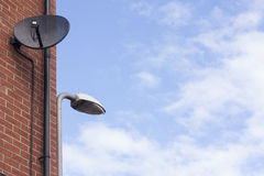 Satellite dish antennas. Install with wall Stock Images