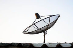 Satellite dish antennas on the roof Stock Photo