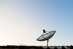 Satellite dish antennas on the roof Stock Image