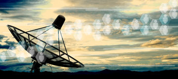 Satellite dish. Antennas on sky Royalty Free Stock Photos