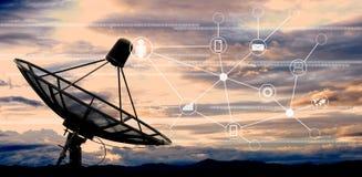 Satellite dish. Antennas on sky royalty free stock image