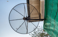 Satellite dish black install in house Stock Photos