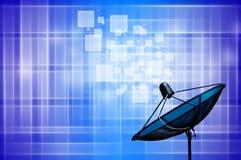 Satellite dish on blue background. Satellite dish on blue and white background stock illustration