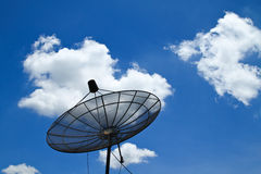 Satellite dish with blue sky. Satellite dish with clear blue sky Royalty Free Stock Images