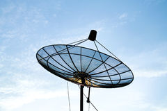 Satellite dish with blue sky. Satellite dish with clear blue sky Royalty Free Stock Photos