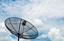 Satellite dish on blue sky. Satellite dish technology for television Stock Photography