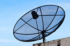 Satellite dish in blue sky Royalty Free Stock Images
