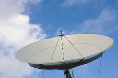 Satellite dish on blue sky Royalty Free Stock Photo