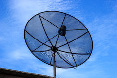 Satellite dish in blue sky Royalty Free Stock Photo