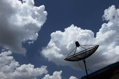 Satellite dish in blue sky Stock Images