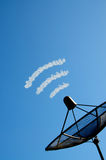 The satellite dish. In blue sky and cloud royalty free stock photos