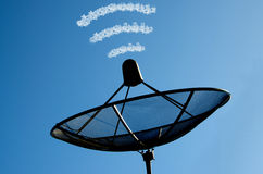 The satellite dish. In blue sky and cloud royalty free stock images