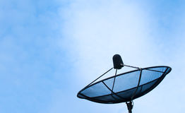 Satellite dish on blue sky send a signal Royalty Free Stock Photography