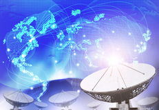 Satellite dish with blue theme of world connecting technology us Stock Image