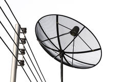 Satellite dish and cable communication technology network Stock Image