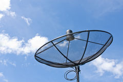 Satellite dish and cloudy as blue sky background Royalty Free Stock Image