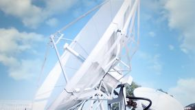 Satellite Dish On A Cloudy Blue Sky stock video footage