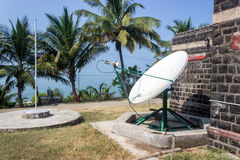Satellite dish on the coast Stock Image