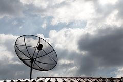 Satellite dish communication technology network on the roof in t Stock Photo